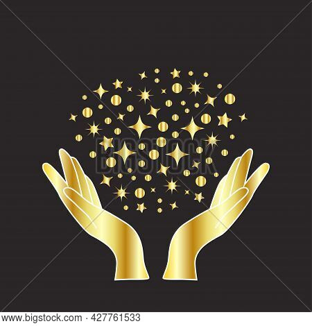 Magical Hands. Boho Occult Magic Hand, Witch Mystical Symbol, Witchcraft Hand Drawn Arms With Stars,