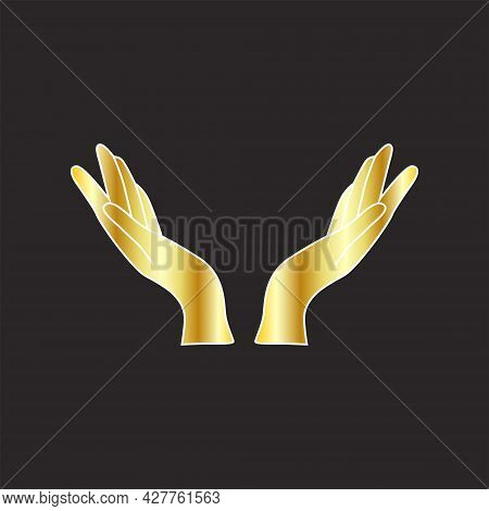 Gold Female Hands Icon Linear Style, Hands And Fingers Design. Hands Open For Grace.
