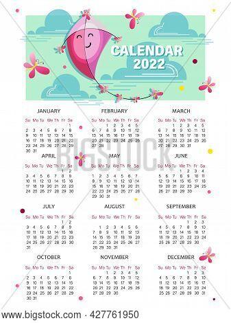Flying Kite. Calendar 2022. Vector Childrens Calendar. Week Starts On Sunday. Cartoon Kite