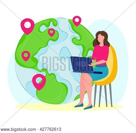 Global Outsourcing Concept. People Work With Laptop Computer, Online Business Communication. Vector