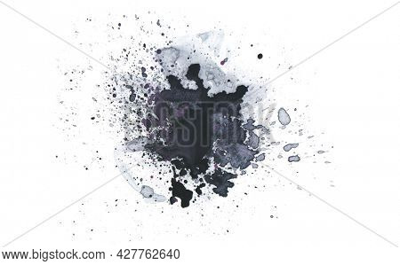 Black Art Watercolor flow blot with drops splash. Abstract texture color stain on white background.