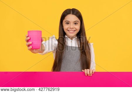 Happy Tween Girl Give Plastic Cup With Drink Holding Advertising Board For Copy Space, Beverage