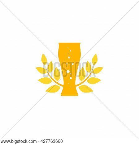 Golden Beer Glass With Wheat Or Rye Laurel. Bar, Pub, Brew Symbol. Alcohol, Drinks Shop, Stor, Menu