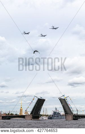 July 22, 2021, Russia, St. Petersburg. A Group Of Anti-submarine Military Aircraft Tu-142m In Parade