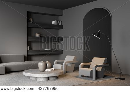 Living Room With Archway And Shelves In The Niche. Interior In Grey With Concrete Flooring, Sofa, Ar