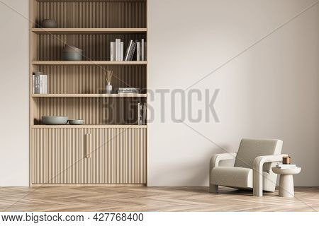 Interior With Light Beige Living Room Wall, Having Original Wood Lining In The Design Of Niche Bookc