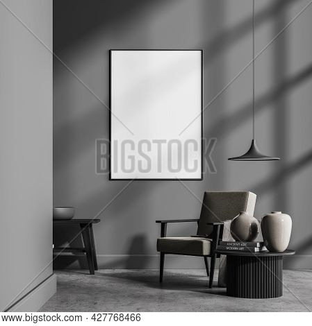 Mock Up Empty Posters On The Wall. Modern Living Room Interior. Stone Floor And Stylish Furniture. C