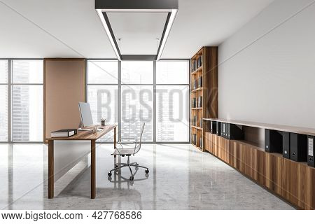 Luxury Panoramic Office Interior With Table, Rolling Chair, Wooden Shelving Unit For Black Folders,