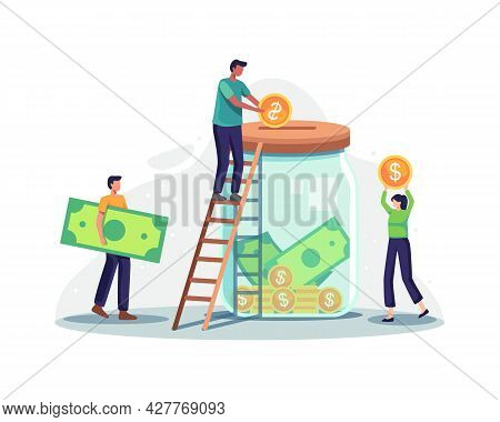 Fund Raising And Money Donation Illustration