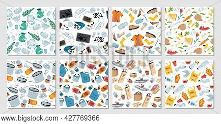 Set Of 8 Garbage Seamless Patterns With Trash Items. Vector Texture. Rubbish Seamless Patterns. Tras