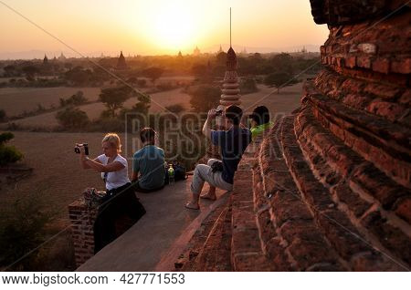 Burmese People And Foreign Travelers Travel Visit Looking View Landscape Bagan Or Pagan Ancient City