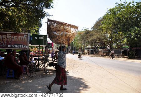 Local Life Lifestyle Of Burmese People With Foreign Travelers And Burma Monks Beside Street Road At
