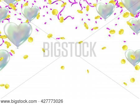 Falling Gold Coins And Balloons . Rain From Golden Coins. Coins With Dollar Sign Isolated On White B