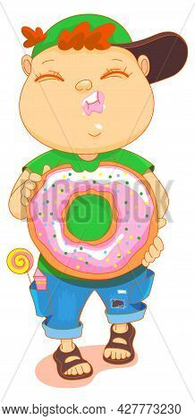 Chubby Cute Kid Eat Donut. Boy Walk And Hold Sweet Donut In His Hands