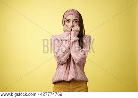 Stunned Scared Timid Insecure Cute Young Girl Frightened Gasping From Fear Pressing Hands To Mouth S