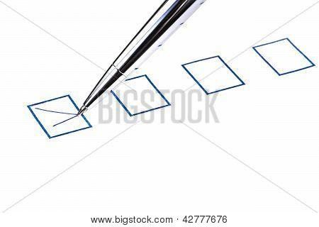 Tick In Blue Square Box