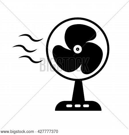 Electric Fan Icon On White Background. Table Fan Symbol. Fan Sign. Flat Style.