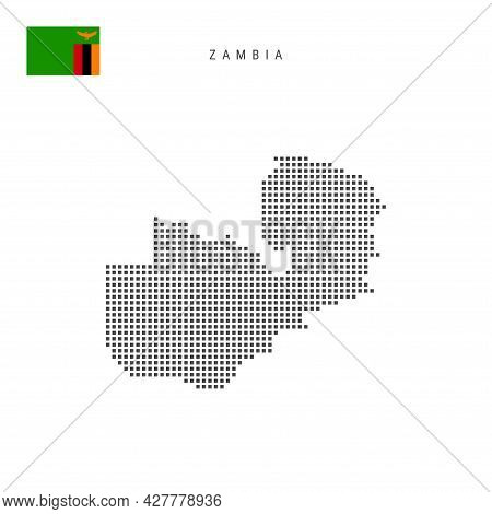 Square Dots Pattern Map Of Zambia. Zambian Dotted Pixel Map With National Flag Isolated On White Bac