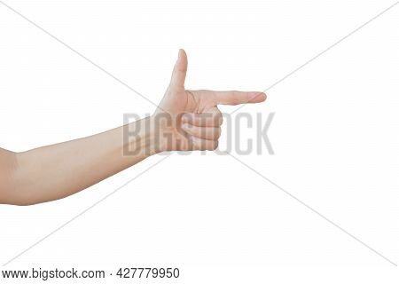 Caucasian Female Hand Gesture Isolated On White Background. (clipping Path)