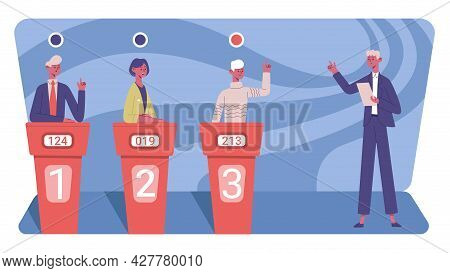 Television Quiz Show. Competitive Quiz Puzzle Game Show With Tv Presenter And Tree Players Vector Il