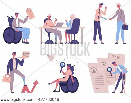 Disabled People Hiring. Handicapped Characters Business Process, Invalid Male And Female Persons Rec