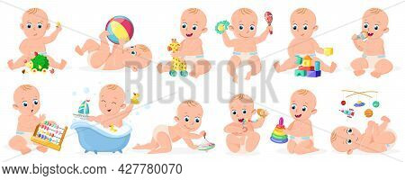 Playing Babies. Cute Infant Baby Boy Or Girl Playing With Ball, Pyramid And Boat Isolated Vector Ill