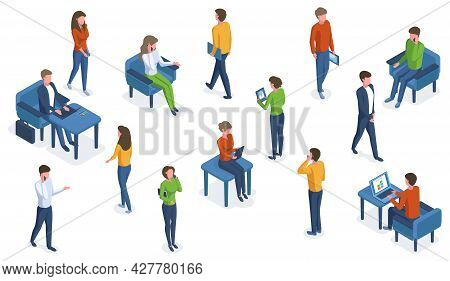 Isometric People With Gadgets. Office Characters Working With Smartphones, Laptops And Tablets Vecto