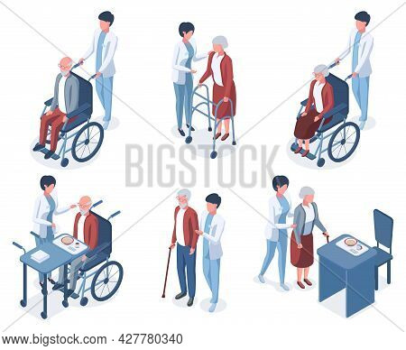 Isometric 3d Old People Medical Help Care. Senior People Medical Therapy, Elderly Patient Nursing Ve