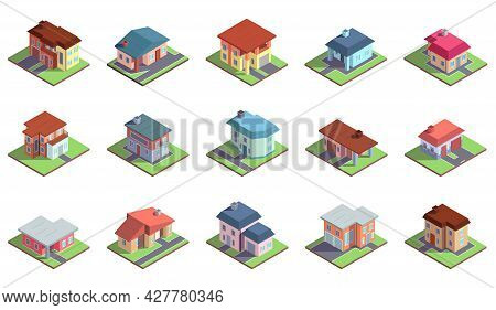 Modern Isometric Suburban Country Residential Cottage Buildings. Private Property, Townhouses Buildi