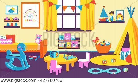 Kids Room. Cartoon Kindergarten Interior With Transport And Animal Toys And Dolls For Toddler. Bedro