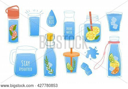 Clean Water. Doodle Glass And Bottle With Aqua Or Lemonade. Recycled Plastic Containers. Drops And S