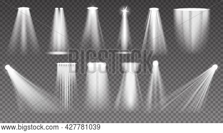 Realistic Spotlight. Shiny Light Ray And Stage Projector Beam. Glow Effects. Bright Transparent Lamp