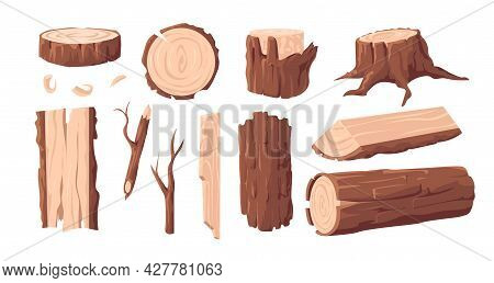 Wood Materials. Cartoon Lumber Log And Tree Trunk. Wooden Plank And Stump With Bark And Branches. Fo