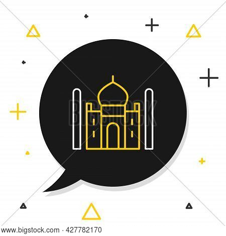 Line Taj Mahal Mausoleum In Agra, Indiaicon Isolated On White Background. Colorful Outline Concept.