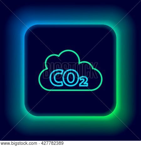 Glowing Neon Line Co2 Emissions In Cloud Icon Isolated On Black Background. Carbon Dioxide Formula,