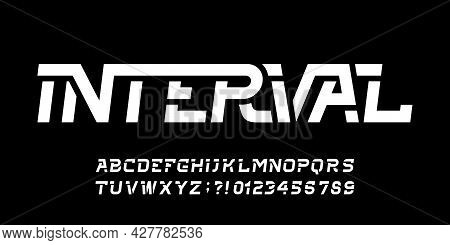 Interval Alphabet Font. Oblique Letters And Numbers For Your Logo Or Emblem. Stock Vector Typescript