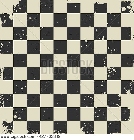 Grunge Chess Board. Seamless Chequered Background. Scratched Pattern With Black And Beige Squares. G