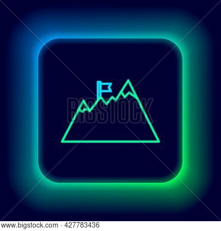 Glowing Neon Line Mountains With Flag On Top Icon Isolated On Black Background. Symbol Of Victory Or