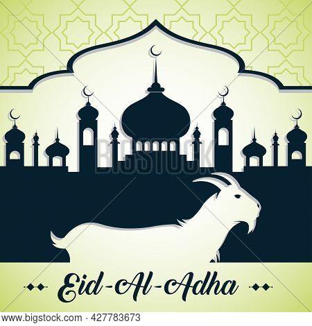 Eid Al-adha Calligraphy Text With Goat Illustration, Eid Al-adha Celebration Background. Vector Illu