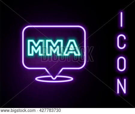 Glowing Neon Line Fight Club Mma Icon Isolated On Black Background. Mixed Martial Arts. Colorful Out