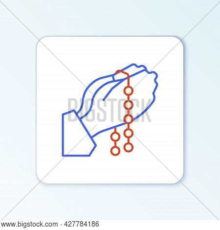 Line Hands In Praying Position With Rosary Icon Isolated On White Background. Praying Hand Islam Mus