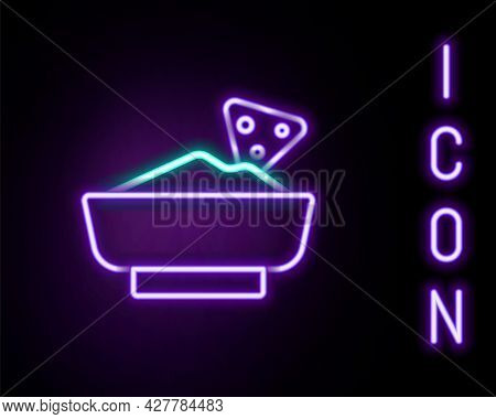 Glowing Neon Line Nachos In Bowl Icon Isolated On Black Background. Tortilla Chips Or Nachos Tortill