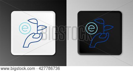 Line Leaf In Hand Of Environmental Protection Icon Isolated On Grey Background. Seed And Seedling. P