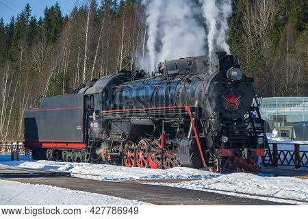 Ruskeala, Russia - March 10, 2021: Soviet Mainline Freight Steam Locomotive Of The