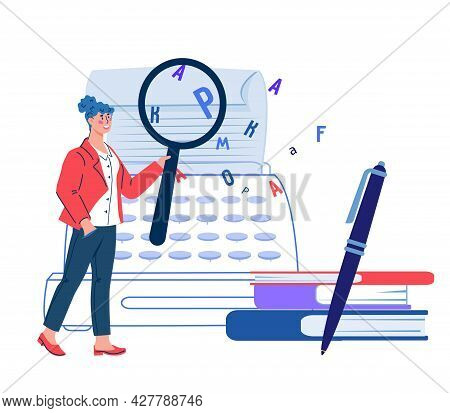 Online Grammar Editor And Creative Writing, Storytelling Concept With Woman Proofreading Document. C