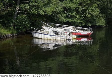 Old Boats Derelict At Loch Lomond For Tranquility Calm Peace And Mindfulness