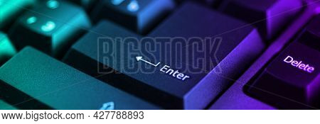 Keyaboard Close Up Focus In Enter Key With Perspective