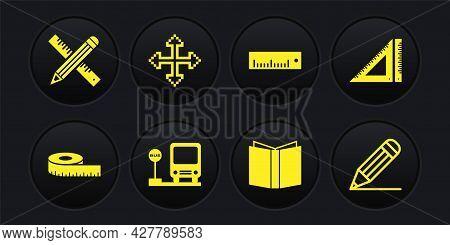 Set Tape Measure, Triangular Ruler, Bus Stop, Open Book, Ruler, Pixel Arrows In Four Directions, Pen