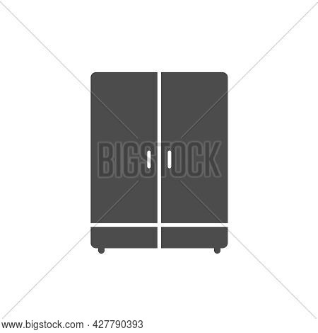 Wardrobe Silhouette Vector Icon Isolated On White Background. Cupboard Furniture Icon For Web, Mobil