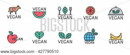 Vegan Color Logo Design Icon Set. Vegan Color Filled Line Icons Isolated On White Background. Organi